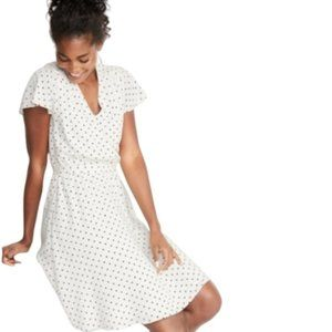 OLD NAVY White Polka Dot Dress Ruffle Sleeve XXL